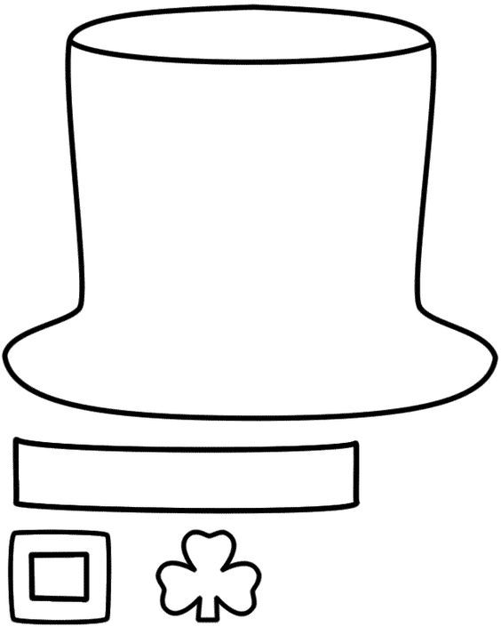 Leprechaun Hat - Paper craft (Black & White Template)