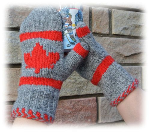 Canadian Maple Leaf Mitts  I've made  10 pair! even a pair in Toronto Maple Leaf Colours!