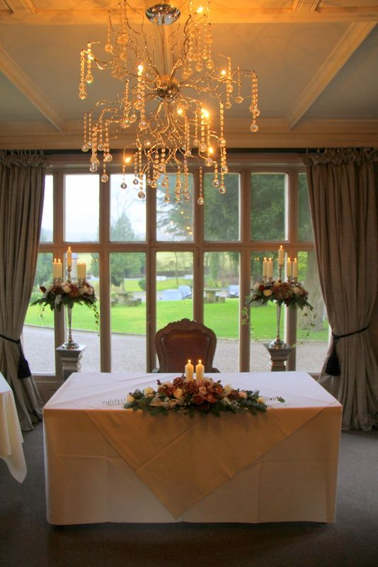 The scene was set in the Restaurant at Mitton Hall with two of our Baroque style Candelabras on Pedestals just behind the Registrars table and a lovely candlelit Table design taking centre stage