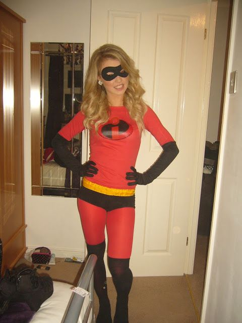 disney pixar fancy dress costume idea outfit mrs incredible the incredibles group costume how to make easy low cost DIY mr incredible