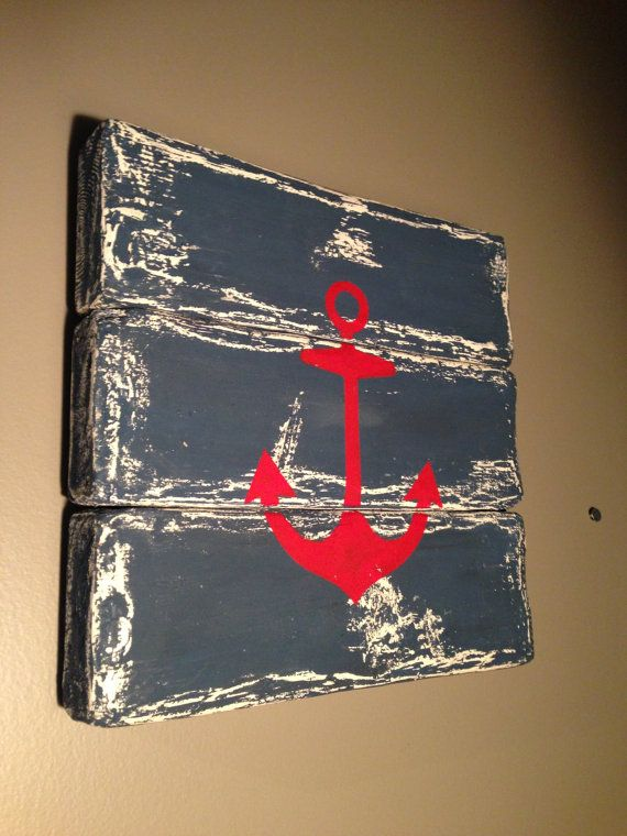Sailors Anchor  painted on distressed wood by EssaComeau00 on Etsy, $39.00