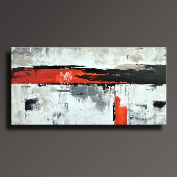 48 Original Abstract Painting Black White Gray Red Painting On
