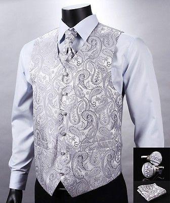 VE12 Silver Gray Paisley Men Silk Waistcoat Vest Pocket Square Cravat Suit Set