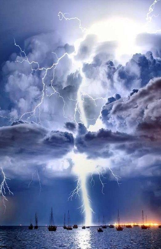 Lightning illuminates a cumulonimbus cloud over Corio Bay, Victoria, Australia
