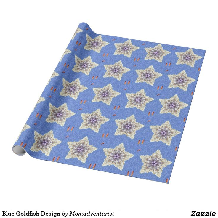 Blue Goldfish Design Wrapping Paper - Great for Christmas!