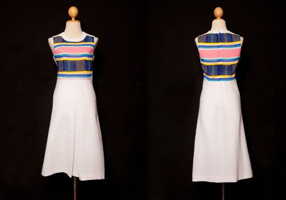 white dress | Maxi dress | Sleeveless dress | Printed dress | Pleated dress | 60s 70s 80s dress | Retro dress | Japanese dress | Tea dress