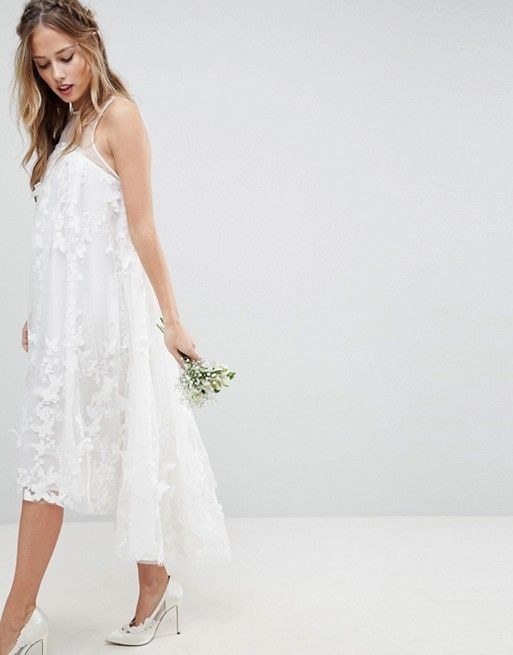 Asos Edition Flower Midi Trapeze Wedding Dress