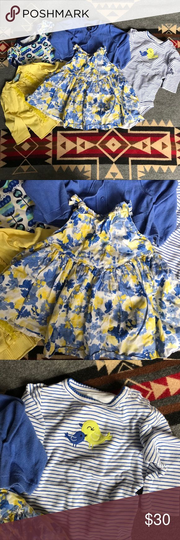 Baby bundle lot size 3-6 month SO CUTE  How sweet are these? I loved these on my little girl.  Blues and yellows adorn this bundle of clothing.  1 dress (gap outlet) 2 cardigans (Gap and Gap outlet)  1 Carters onsie 1 old navy onsie Matching Sets
