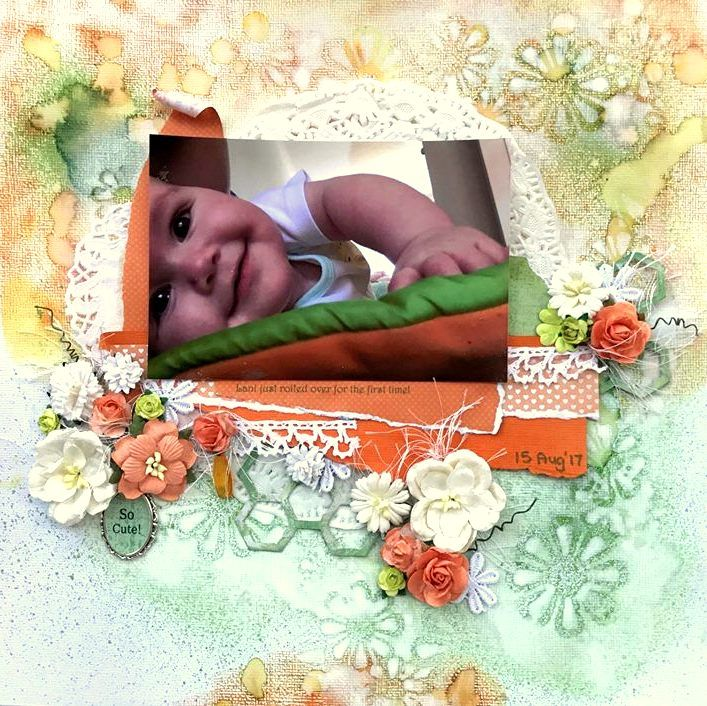 Baby Scrapbooking Layout using Kaisercraft Papers and mists, spiced marmalade distress ink, flowers and lace