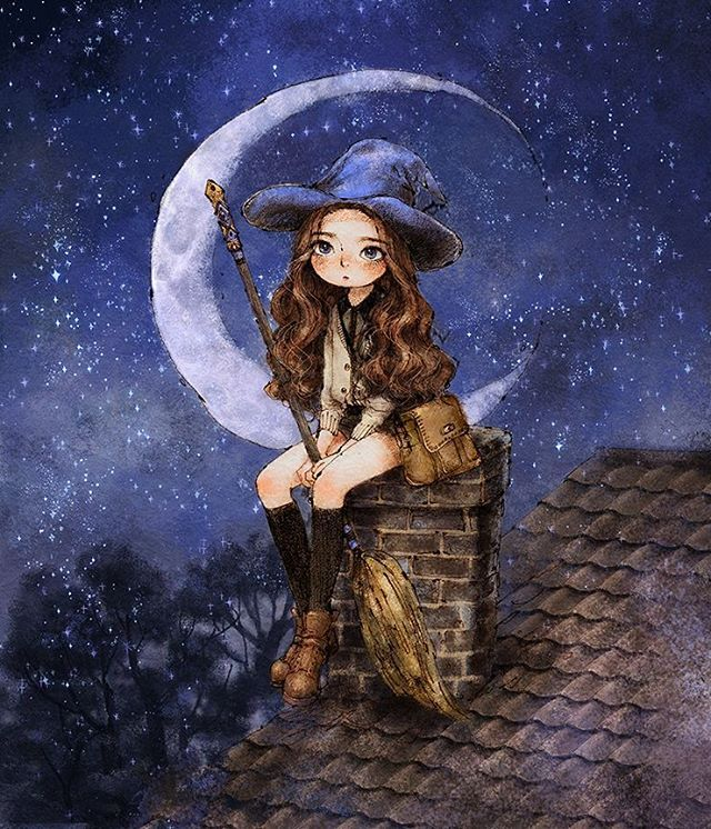Happy Halloween witch on rooftop art by _aeppol