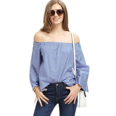 Women Blue off shoulder blouse Plus size Longsleeve Summer Striped 2017 Korean Fashion Sexy lady Strapless Casual Tops Blouse