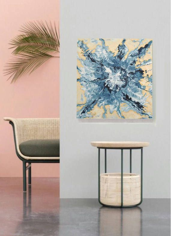 Original Modern Abstract Art Acrylic on Canvas blue and