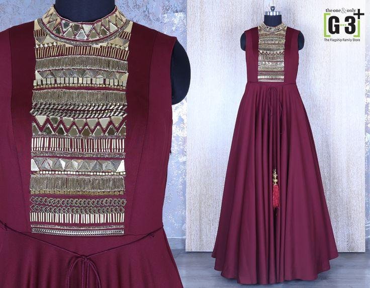Maroon Designer Silk Gown