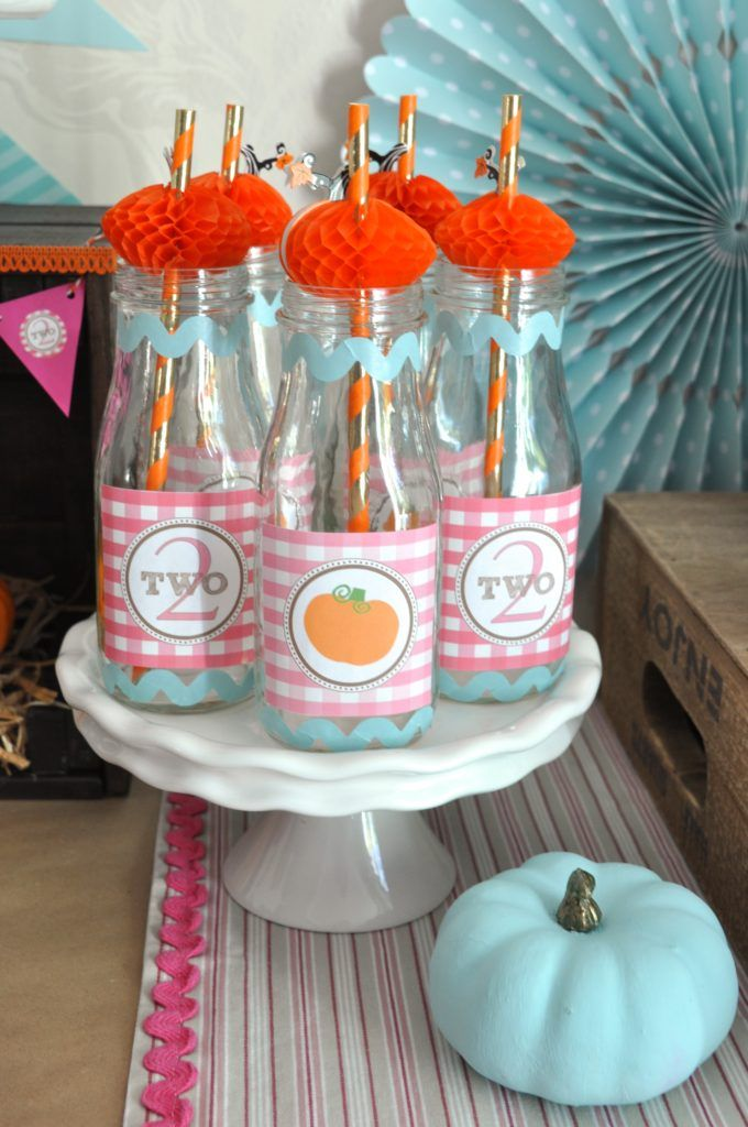 Bottles from a Pumpkin Themed Birthday Party #pumpkinbirthdayparty #pumkinpartyideas #milkbottles