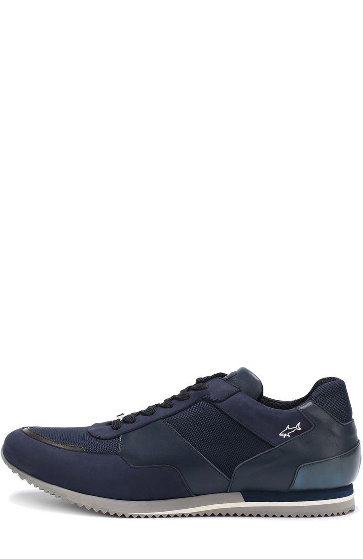 Мужские темно-синие кожаные кроссовки на шнуровке в текстильными вставками Paul&Shark, сезон SS 2017, арт. E17P8033 купить в ЦУМ   Фото №3
