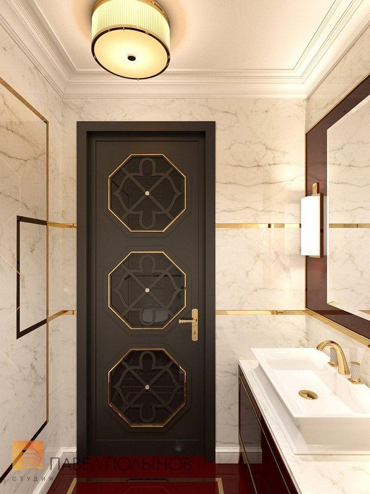 Фото интерьер ванной комнаты для гостей из проекта «Дизайн квартиры в стиле парадной неоклассики с элементами арт-деко, элитный жилой комплекс «Привилегия», 250»
