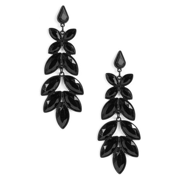 Black Chandelier Earrings ($11) ❤ liked on Polyvore featuring jewelry, earrings, brinco, chandelier jewelry, chandelier earrings and earrings jewelry