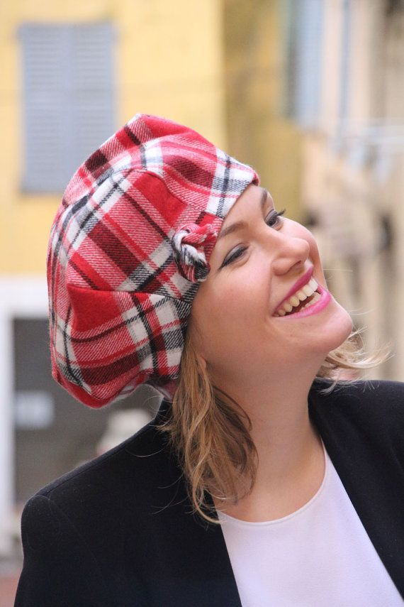 Womans fabric beret hat. Red check fabric hat. Woolen fabric beret. French beret. Slouchy beret. Delisa collection.