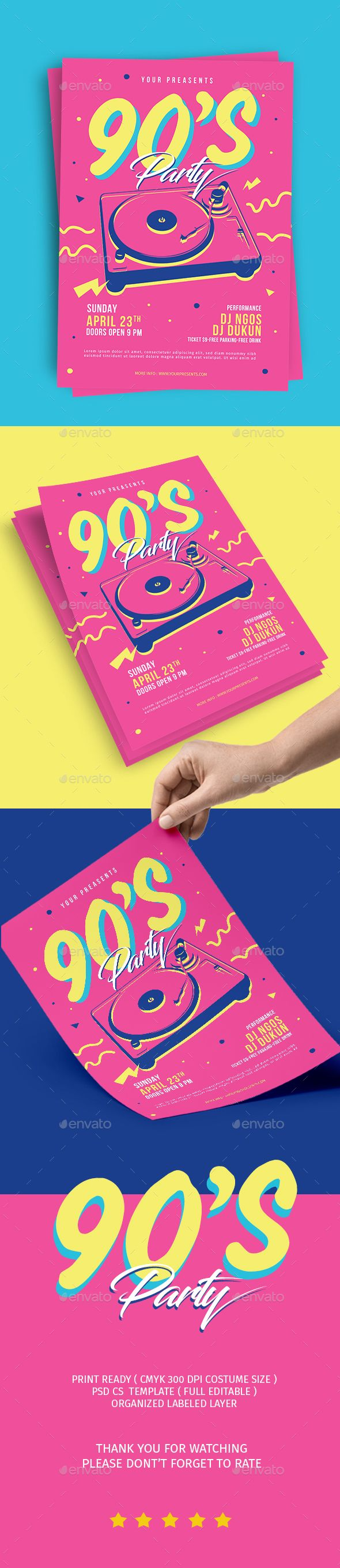 90's Music Event Flyer Template PSD