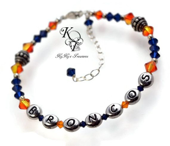 Denver Broncos, Broncos Bracelet, Broncos Gift Idea, Football Team Bracelet, Football Gift, Pro Football Accessories, Broncos Accessories