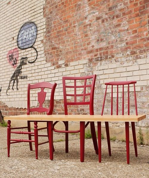 Bench Out of Old Chairs | Chairs upcycled into benches by 31andchange
