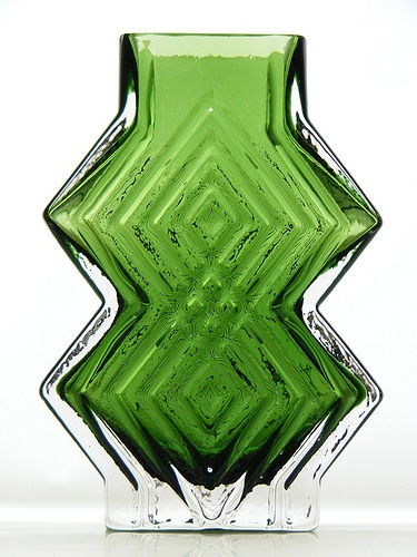 """Whitefriars cased meadow green """"double diamond"""" glass vase. Pattern number 9759. Designed by Geoffrey Baxter"""