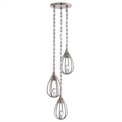 Designed for Arteriors Home by Windsor Smith for dining rooms, entryways or living rooms, the chic, contemporary Atheneum Fixed Chandelier features three hanging lights in varying lengths that create an elegant ambiance! The vintage silver cage like base has a hidden halogen bulb that casts light on a lovely clear crystal orb, sending illuminating rays into the surrounding space.