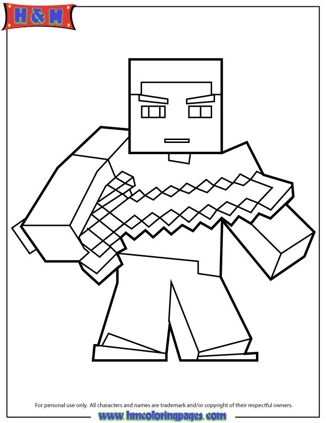 Herobrine With Sword Coloring Page Minecraft Coloring