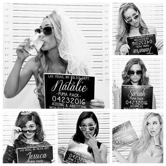 This listing is for customized Bachelorette Party Mugshot signs. Perfect for your Bachelorette bash, and an amazing photo prop for all your girls! Your custom Bachelorette Party Mugshot signs are printed on heavy duty 80lb. cardstock. Shipped in a sturdy no-bend photo mailer to ensure safe and undamaged arrival. INFO TO INCLUDE AT CHECKOUT: Line 1: Party location Line 2: Attendees first names Line 3: Wedding party titles (if not in the wedding party I suggest Accomplice or Brides entourage)…