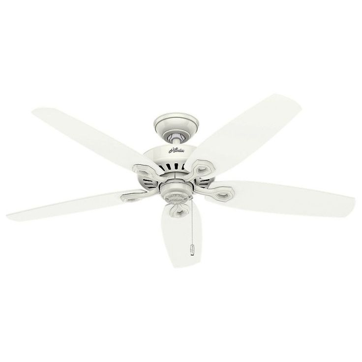 "Hunter Builder Elite Damp 52"" Outdoor Ceiling Fan - 5 Reversible Blades Included Snow White Fans Ceiling Fans Outdoor Ceiling Fans"