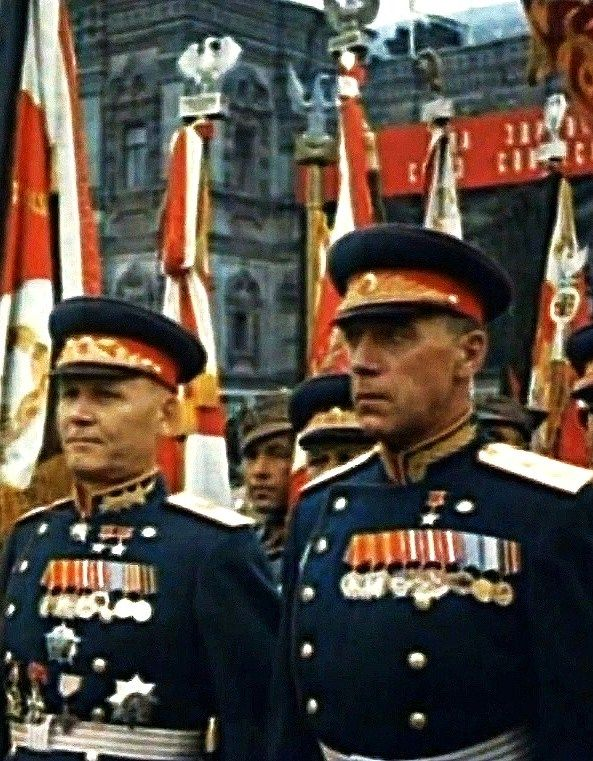Heroes of the Soviet Union (the highest military decoration) at the Victory Parade on the Red Square in Moscow, Russia, 24 June 1945.