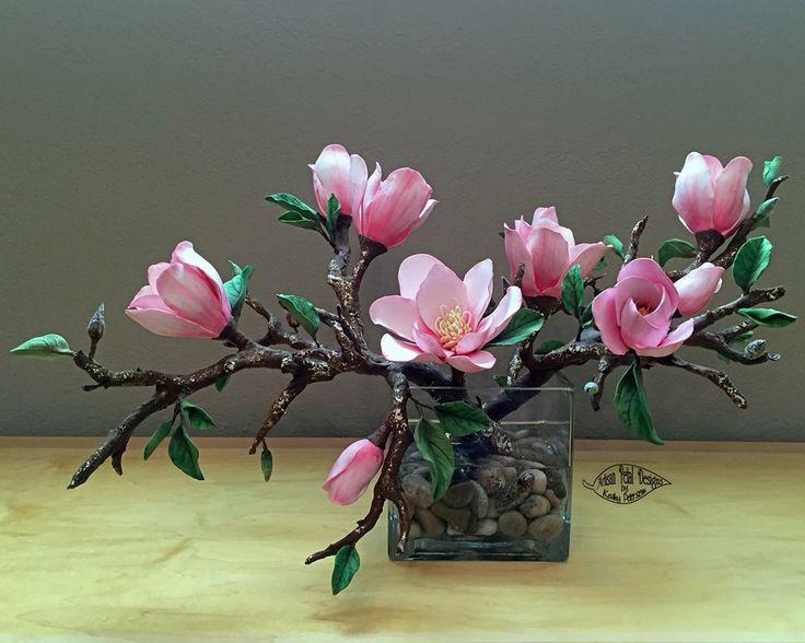Deco clay pink magnolia branch arrangement by Kathy Peterson / Artisan Petals Design.