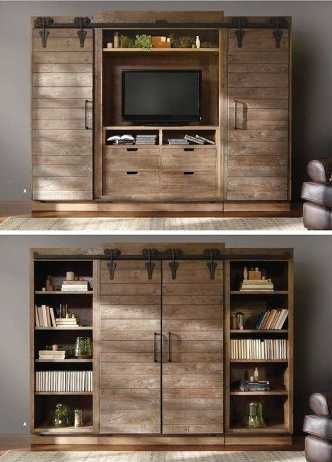 Open The Barn Doors For An Entertainment Center And Close Them For A Bookshelf – Brilliant!