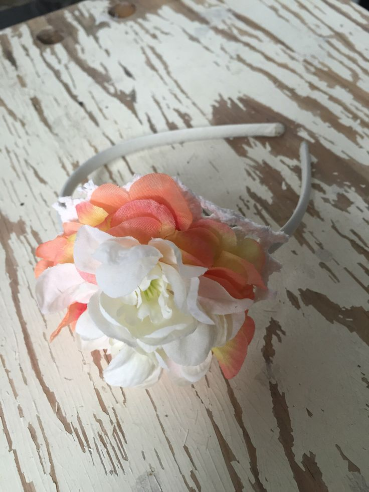 Peaches and Cream Mini Bouquet Flower Headband by SunshinePieCreations on Etsy https://www.etsy.com/listing/259224016/peaches-and-cream-mini-bouquet-flower