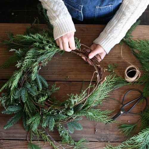 "Winter ~ Advent ~ Week Two: The Light of Plant & Branch ~ Wreath ~ ""Make a wild, natural evergreen wreath with a hand-formed grapevine base."""