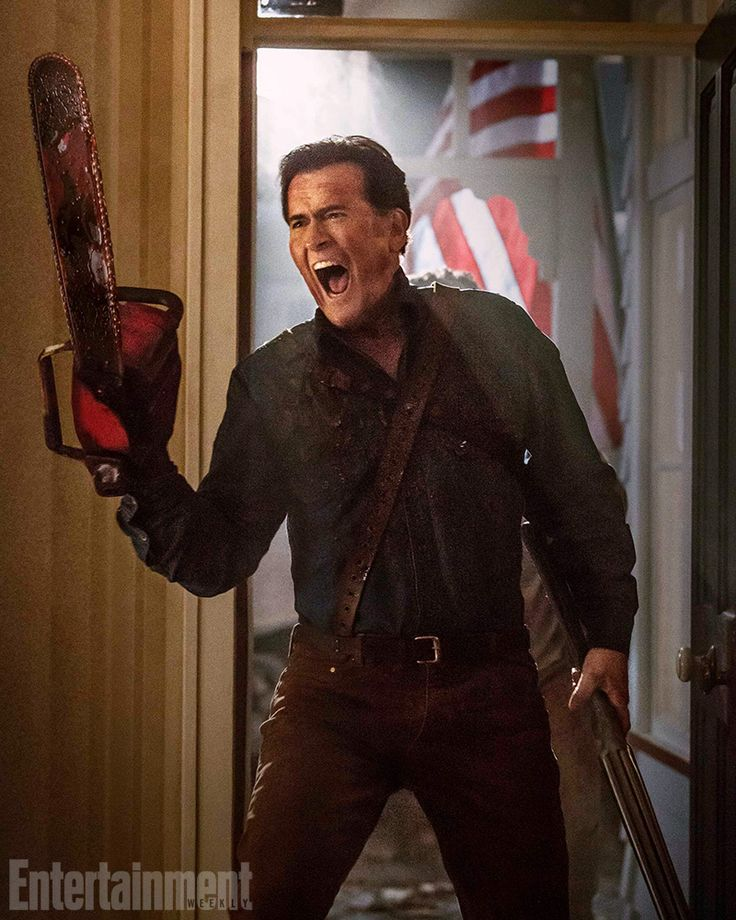It's time to keep this extremely bloody party going with two more exclusive images of Ash from the upcoming 'Ash vs Evil Dead' series. #EWComicCon
