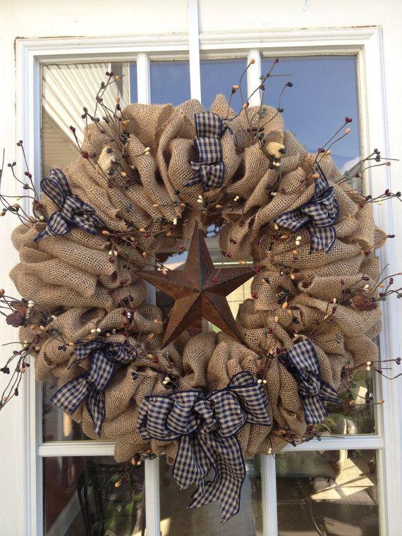 Burlap wreath Primitive Wreath Americana by TranquilitybyAney, $60.00