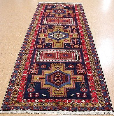 4 x 11 PERSIAN MESHKIN Tribal Hand Knotted Wool RED BLUE Runner Oriental Rug