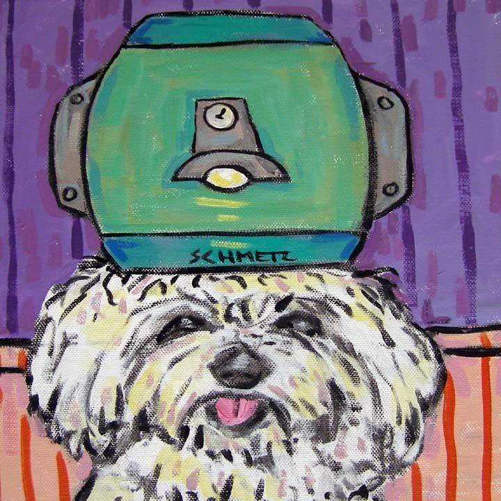maltese salon picture animal dog art tile coaster