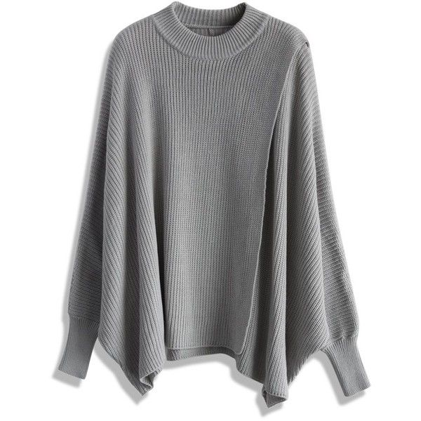 Chicwish Whims and Drifts Batwing Cape Top in Grey (€49) ❤ liked on Polyvore featuring tops, grey, gray top, batwing top e grey top