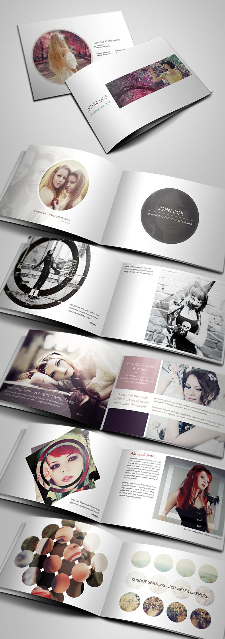 {Creative Photography Portfolio A4 Brochure} - Could do something similar, but with my design work. Use clipping masks {InDesign} -- TUTORIAL CLIPPING MASKS INDESIGN - http://layersmagazine.com/clipping-masks-in-indesign.html