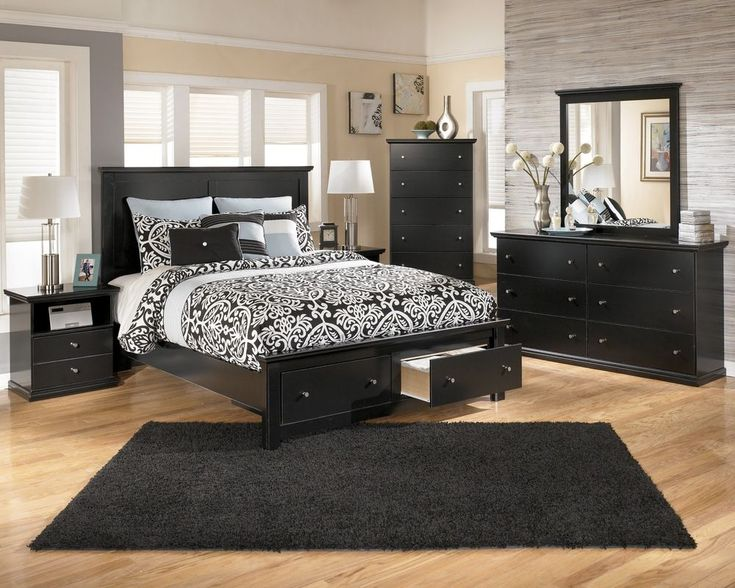 black bedroom set featured brilliant drawers bed frame idea and dresser design plus cool large rug