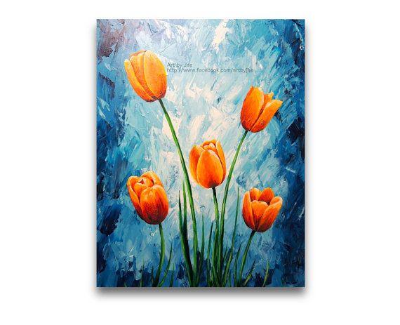 Original Painting Orange Tulips Mother's Day 16x20 by artbyjae, $155.00