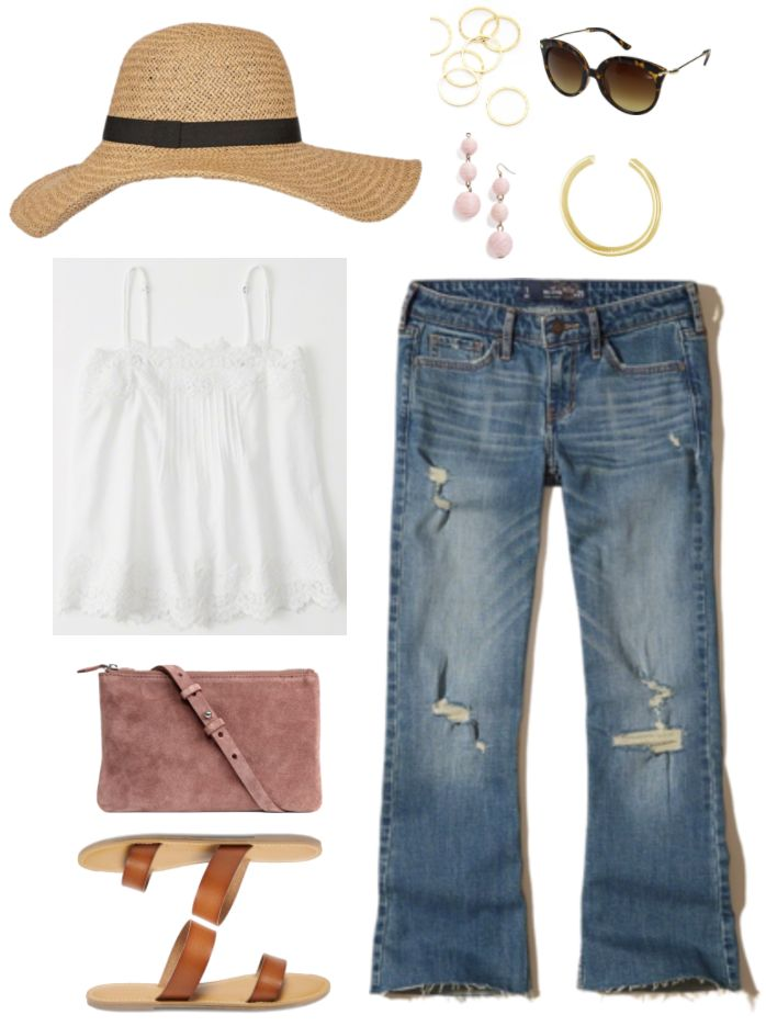 """Ask CF: How Do I Make Flared and Bootcut Jeans Look Fashion-Forward?"" Outfit #3 featuring floppy straw hat with black ribbon, white lace-trimmed camisole, taupe-y pink cross-body bag, cognac brown double-strap sandals, set of seven gold hammered rings, pale pink wire-wrapped circular drop earrings, brown tortoise cat-eye sunglasses with gold hardware, gold heart cuff bracelet with engraved saying, medium-wash destroyed cropped flared jeans"