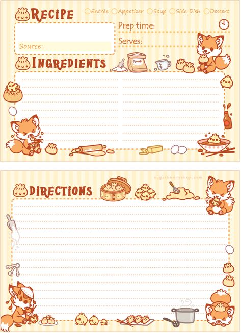 Fox Recipe Card