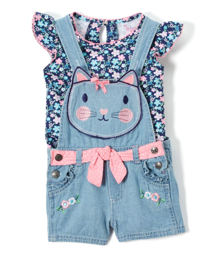 This play-ready pair is equipped with a frilly angel-sleeve top that exudes girly gusto from beneath a pair of sweet kitty shortalls, both cut from snuggly-soft cotton for daylong comfort. Includes top & shortalls100% cottonMachine wash; tumble dryImported