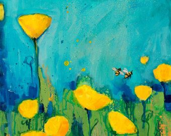 Afdrukken van een origineel abstracte bloemen schilderij door Kellee Wynne Conrad  Gele duurt 2 Papierformaat voor afdrukken: 8 x 10 $30 *