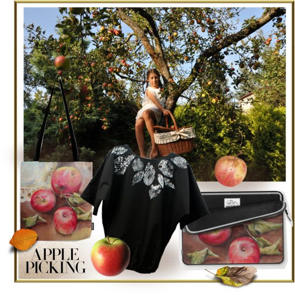 Red apples print tote bag and laptop sleeve  https://society6.com/canisart Hand painted blouse www.etsy.com/shop/KropkaDesign Romantic basket: www.etsy.com/shop...