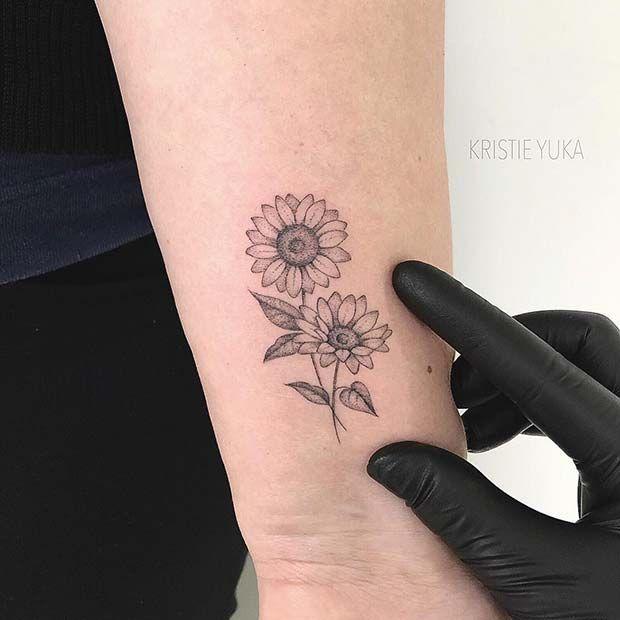 41 Ideen für hübsche Sonnenblumen-Tattoos zum Nachmachen