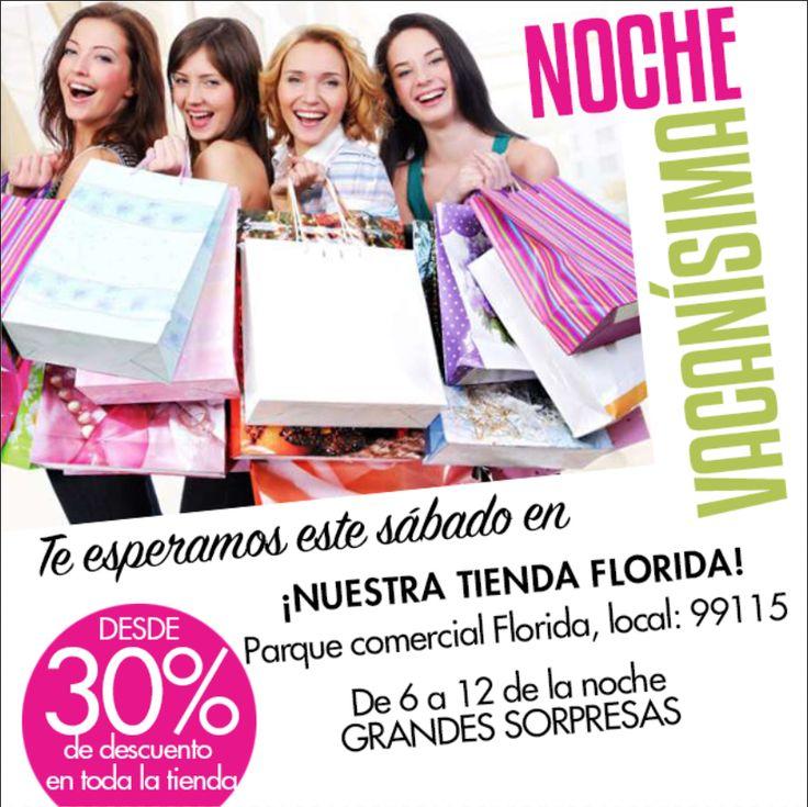 Te esperamos en la #nochevacanísima este sábado en nuestra tienda Florida, #descuentos desde 30% en prendas seleccionadas #descuentosdelocura #grandessorpresas #moda #diseño #estilococoa